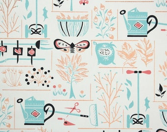 1960s Vintage Wallpaper by the Yard - Retro and Kitsch Garden Novelty Wallpaper Leaves and Seeds