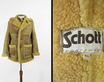 Vintage Schott Shearling Coat 1970s Men's Brown Sheepskin Mountain Man Leather - Size 40