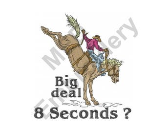 Rodeo Cowboy - Machine Embroidery Design, Rodeo, Cowboy, Horse, 8 Seconds
