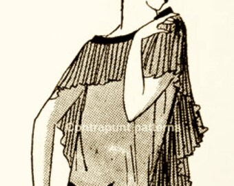 1920s dress pattern with pleated shoulder cape and diagonally-cut pleated skirt. Terrific, memorable design.