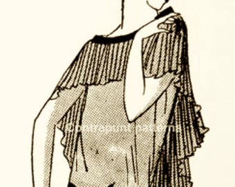 1920s dress pattern with pleated shoulder cape and diagonally-cut pleated skirt.Terrific, memorable design.