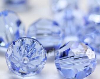6 pcs Swarovski Elements - Swarovski Crystal Beads 5000 10mm Round Ball Beads - Light Sapphire
