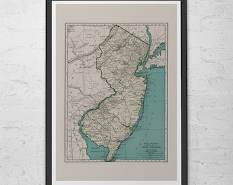 NEW JERSEY MAP - Vintage Map of New Jersey State U.S.A. - Old Map Print, Vintage Wall Art, Antique Map, Historical Wall Art