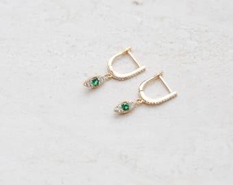 Evil eye Hoops, Gold Hoops, Hoop earrings, For her, Evil eye jewellery, Gold plated, Hoops