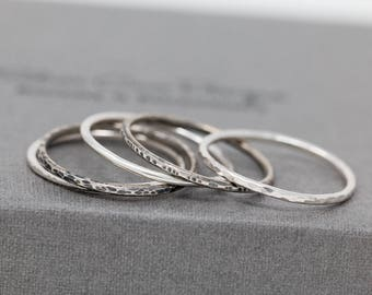 Set of 5 Sterling Silver Stacking Rings|Rustic Sterling Silver Ring Set|Sterling Silver Textured Ring Set|Minimalist Rings|Stacking Rings