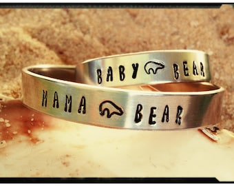 Mama Bear & Baby Bear Cuff Bracelet - Single Bracelet or a Set//Hand Stamped 1100 Series Aluminum Cuff//Mommy Jewelry//Toddler Jewelry