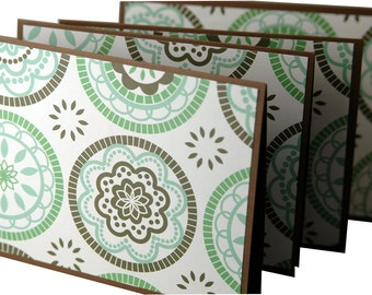 Retro handmade cards, brown and green cards, modern stationery, funky cards