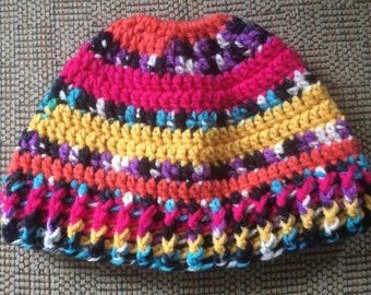 Messy Bun Hat, Pony Tail Hat, Man Bun Hat, Ski Hat, Hat with Hole, Winter Hat,Messy Hair day, jogging hat, Adult Messy bun hat, colorful hat