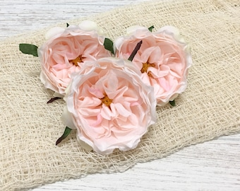 3 Peach BLUSH Pink Artificial Cabbage Roses - Artificial Flowers, Silk Flowers, Flower Crown, Hair Accessories, Wedding Flowers, Tutu