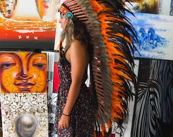 The Original - Real Feather Orange Chief Indian Headdress Replica 135cm, Native American Style Costume Hand Made War Bonnet Hat