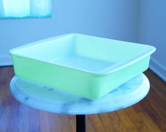 Square Casserole Dish by Pyrex -- Lovely Lime Green Baking Dish -- Terrific Mid Century Bakeware