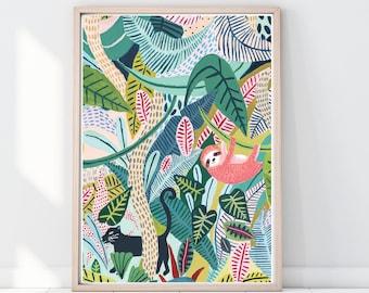 Sloth Print, Panther Print, Jungle Print, Botanical Illustration, Plants Print, Childrens Prints, Childrens Decor, Nursery Decor