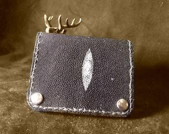 Black bi-fold wallet stingray leather with snap closure, billfold black stingray bifold