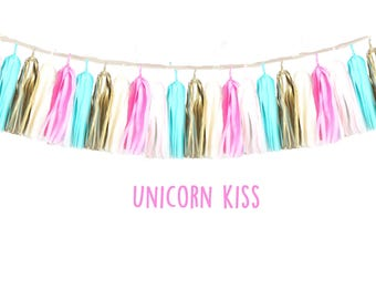 Tissue tassel Garland Unicorn Kiss-wedding decor-nursery decor-booth backdrops-party decor-christening decor-balloon tails-wall art