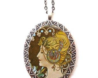 Alphonse Mucha Necklace Pendant Silver Tone - Art Nouveau Boho Bohemian Gypsy Feather