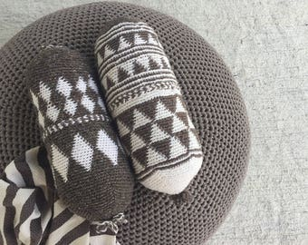 Bolster Wool Pillow, Moroccan Boho Pillow, Boho Rustic Decor, Yoga Bolster