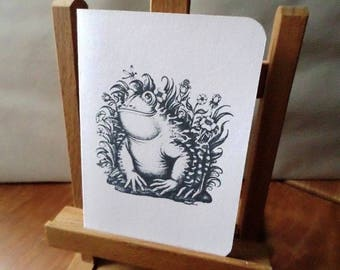 Greeting card 'Frog SOURIANTE' 'SMILING FROG' textured 15cm x 10.5 cm cardstock