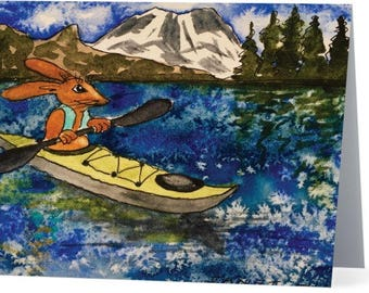 Notecard: Kayak Rabbit