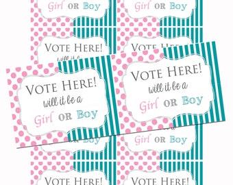 Gender Reveal Voting Cards - Boy or Girl - INSTANT DOWNLOAD