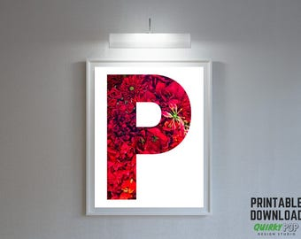"""Floral Letter """"P"""" - Digital Print for Instant Download"""