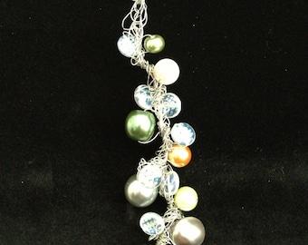 Multicolored Simulated Pearl Wire Crochet Bracelet