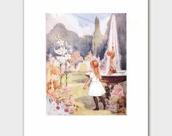 "Alice in Wonderland Home Decor, Margaret Tarrant Art Print --- ""Magic Garden"" No. 129"