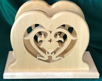 Hand Crafted Wood Heart Scrolled Napkin Holder or Mail Holder, Wedding, Bridal Shower, Birthday, Anniversary, Gift Idea