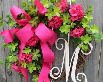 $99.00; Spring / Summer Door Wreath, Wreath For Spring / Summer, Hot Pink  Wreath,