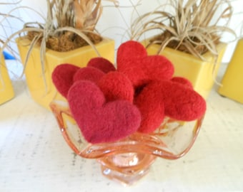 Set of 8 Eight Red Wool Needle Felted Hearts Assorted Sizes Valentine's Decorations Bowl Fillers