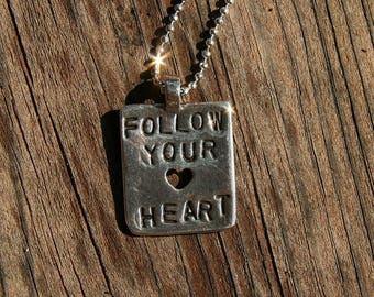 Follow Your Heart Pendant, silver, PMC, handcrafted