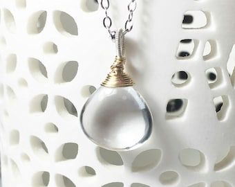Solitaire Gemstone Necklace, Clear Rock Quartz Mixed Metal Pendant