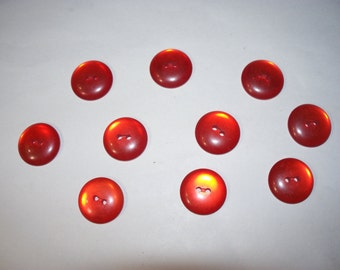10 Red Buttons, Lot 2576   (Free US Shipping)