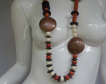 Vintage FEINBERG  Copper Disks and beaded Sautoir Necklace/Belt