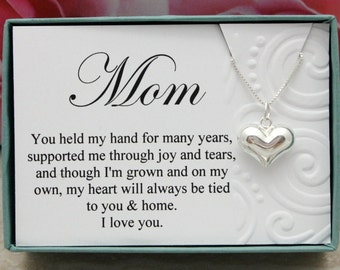Gift for Mom from Bride or Groom 925 sterling silver heart necklace, Mother's Day gift for mom from son or daughter, I love you mom