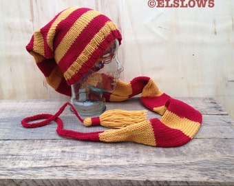 Hat \Gryffindor Wins/ Long Stocking cap Fairy Hat Faery Festival fashion couture custom knit