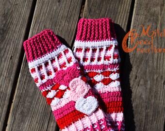 """Crocheted """"Free Spirit"""" Slipper Socks, Valentine Socks, Heart Knee High Socks, Knee High Socks, Knee Length Crochet Socks - Made to Order"""