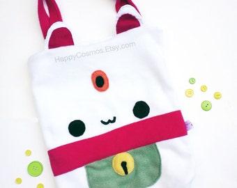 Lucky Cat Tote Bag - Schoolbag, Backpack, Animal Tote Bag, Maneki Neko Bag, Women's Tote, Christmas Gift, Halloween Trick or Treat Bag