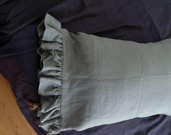 Linen Sham with Ruffles/ Ruffle Sham/ Linen Sham/ Sham/ Ruffles/ Softened Linen/ Natural Linen