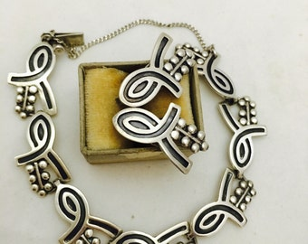 Vintage Mexico Sterling Silver Lunk Bracelet and Earrings