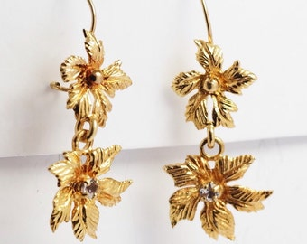 Italy CZ Leaf 14k Yellow Gold  Dangle  Earrings Maple Canada