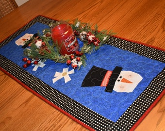 "Large Snowman Runner in Red, Black and Royal Blue   39.5"" x 17"""