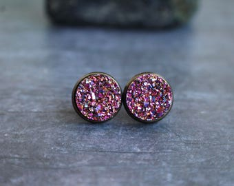 Gorgeous Magenta Gold Druzy Earrings, Matching Ring, Druzy Studs, 12mm, Titanium Druzy Studs, Christmas Gift
