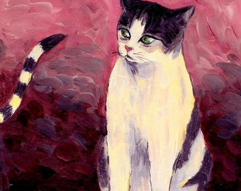 cat art print acrylic cat painting~Breaking Up The old Anticipating A New One~ gift for divorce celebration, A3 print A4, 8x10, 6x8