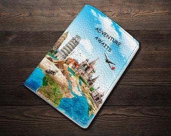 Travel Passport Holder Adventure Awaits Passport case Travel Passport Leather case Gift Passport cover Travel Wallet Gift for Her Travel Map
