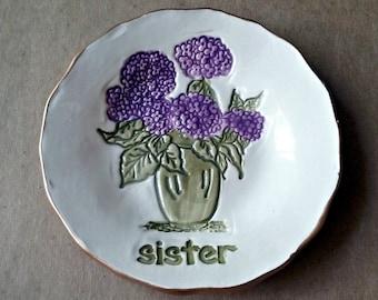 Ceramic Trinket Dish OFF WHITE hydrangea edged in gold Sister