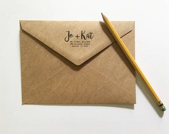 Custom Return Address Kraft Envelopes - Custom Envelopes - Graduation Announcement Envelopes - Sized for A7 5x7 Cards - Wedding Stationery