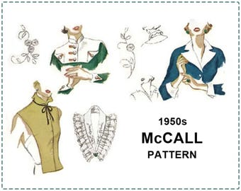 """1950s Collars, Cuffs, Vestee Sewing Pattern with Transfer - McCall 1521 - 14"""" to 15"""" Neck Size - 1950s Accessories Sewing Pattern - UNCUT"""