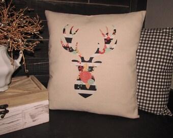 Floral/Striped Deer Head Pillow Cover~18X18~Home Decor~Farmhouse