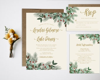 Wedding Invitation Bundle, Christmas Invitation, Winter Wedding, Christmas Wedding Invitation, Holiday Wedding, Festive Wedding Invitation
