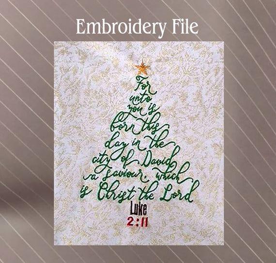 Christmas Tree bible verse Luke 2:11 Machine embroidery design